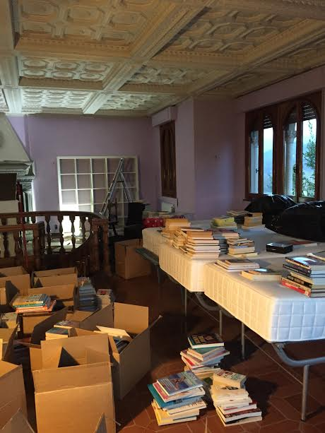 boxes of books in tower studio 2