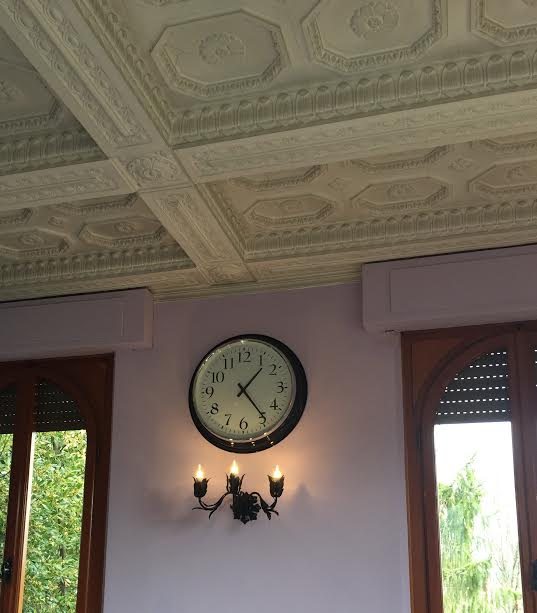 clock and 1 of 6 newly painted light fixtures