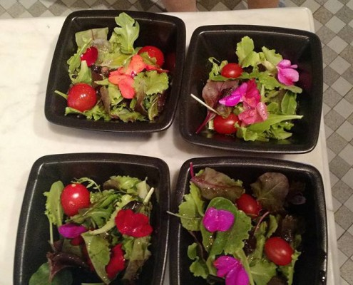 salad with flowers