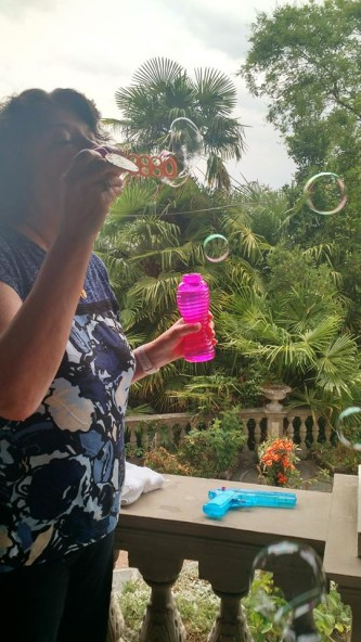 sherri blowing bubbles