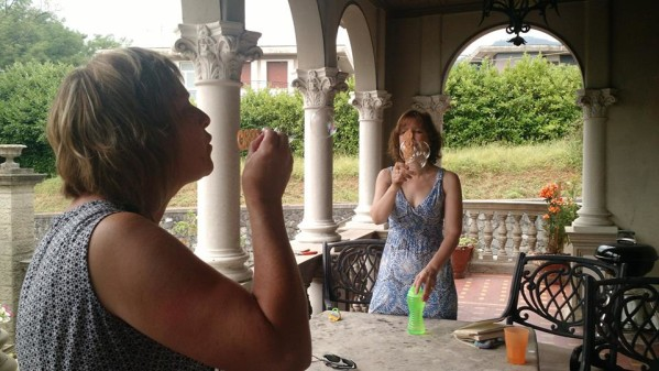 tina and i blowing bubbles